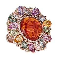 In Bloom Ring ~ Featuring a medium-sized fire opal with a diamond pave border surrounded by multicoloured sapphires
