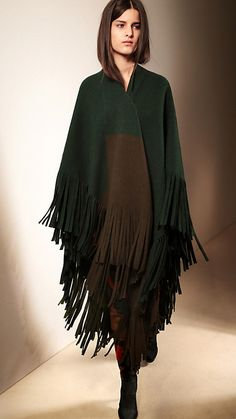 Dark forest green Poncho in Colour Block Merino Wool and Cashmere - Burberry