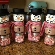 3 baby food jars-1 peppermints, 2 hot cocoa mix 3 marshmallows glue together, add scarf and hat