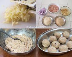 Step by step how to make chicken and apple balls with barbecue dip