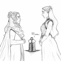 That'll be tense (arya should be standing next to Sansa with a knife looking creepy) Dessin Game Of Thrones, Game Of Thrones Books, Got Game Of Thrones, Sansa Stark, Daenerys Targaryen, Game Of Thones, Valar Morghulis, Valar Dohaeris, I Love Games