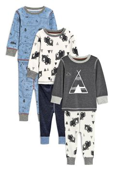 Buy Three Pack Teepee Bear Snuggle Fit Pyjamas (9mths-8yrs) from the Next UK online shop