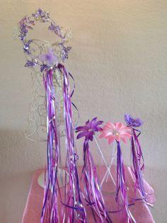 4 Fairy Princess Rapunzel light pink, hot pink, dark purple Fairy halos and wands, bridal wands, Princess wands Party Favors
