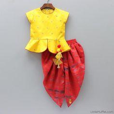 Pre Order: Yellow Peplum Choli And Red Dhoti Kids Indian Wear, Kids Ethnic Wear, Dresses Kids Girl, Girl Outfits, Kids Lehenga, Baby Lehenga, Kids Blouse Designs, Kids Dress Patterns, Baby Dress Design