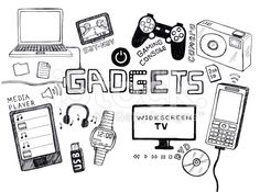 Gadgets doodle royalty-free stock illustration
