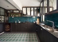 With this apartment, Linear Space Concepts has combined traditional Peranakan elements with new ideas to create a gorgeous home that stands out from the rest. Kitchen Room Design, Home Room Design, Home Decor Kitchen, Interior Design Kitchen, Kitchen Furniture, Interior Decorating, India Home Decor, Indian Home Interior, Up House
