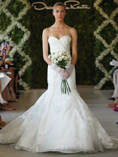 Oscar de la Renta Bridal 2013 ~ Ivory floral print silk organza sweetheart gown with low side pleat skir