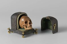 Skull in a case: memento mori Author: Albert Jansz. Vinckenbrinck (Dutch, ca. 1605-1664) Date: ca. 1650 Medium: Palm wood, copper, shagreen and gilding Location: Rijksmuseum, Amsterdam