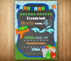 Water Gun Invitation Birthday PRINTABLE Squirt Gun Water Fun Water Bash Water Balloons Summer Boy Green Blue Chalkboard on Etsy, $8.00