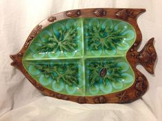 VTG Retro Treasure Craft Fish Shell Ocean Beach Trinket Relish Nut Tray Plate