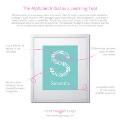 "This ""Alphabet Initial Personalized Print"" features the alphabet, both upper and lowercase letters, hand placed in the shape of your child's initial. Upper And Lowercase Letters, Initial Letters, Nursery Prints, Wall Prints, Simple Sugar, Learning The Alphabet, Learning Tools, Old Art, Giveaways"