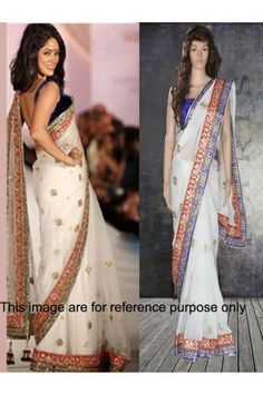 Classic Net White Bollywood Saree - STLY1401S at Stylelly
