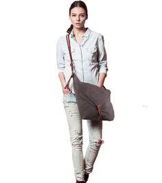 Tom Clovers Summer New Casual Canvas Crossbody Messenger Shouder Handbag Tote School Bag Grey: Handbags: Amazon.com