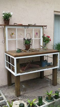 Vintage Tool Potting Bench Rustic Potting Benches, Potting Tables, Metal Table Frame, Old Wood Table, Reclaimed Windows, Vintage Gardening, Organic Gardening, Fairy Gardening, Indoor Gardening