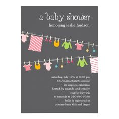 Chic Clothesline Baby Shower Invitation (Girl)
