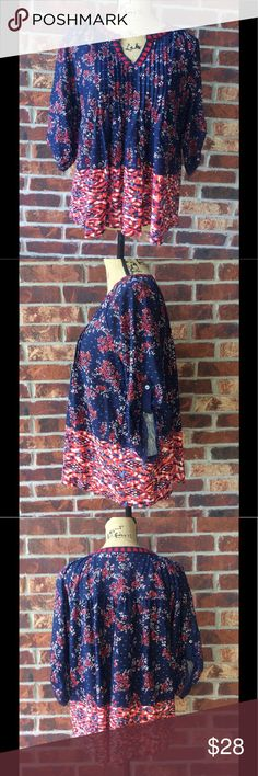 NWT Vintage America bohemian blouse size medium Vintage America bohemian blouse size medium . Gorgeous red/navy with floral detail and embroidered neckline Vintage America Tops Blouses