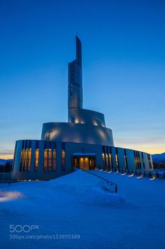Alta Cathedral by chriswtaylor  winter cold church north snow evening modern cathedral Europe Norway Alta Arctic Circle Northern Lig