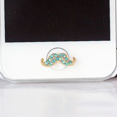 35%OFF Luxury Bling Pink Blue White Crystal Mustache DIY Home Button Sticker for Apple Charm iPhone 3,4,4s,5,ipad 2,3,4,iPod Touch 2,3,4,5 on Etsy, $3.88