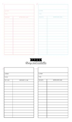 Free Library Card Printables (available in different colors including Sepia)