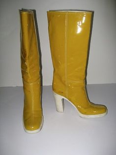 AMAZING! Retro MIU MIU Yellow Patent Leather High Heel Vintage Look Rain Boots ~ Great colour, but sucky heel ( seriously, WHO wants to wear something THIS tall in the rain . . . asking for disaster, methinks ).