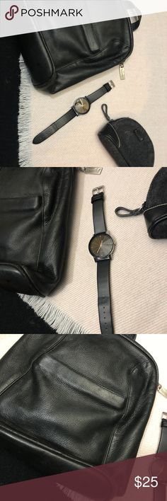 THREE ACCESSORY SET High fashion black leather backpack  Nine West coin purse  black quartz watch Accessories