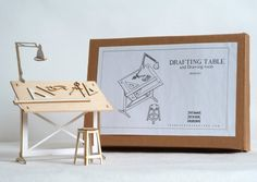 Miniature Drafting Table and Drawing tools by ThomasHouhaDesigns