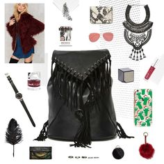 Nasty Gal Fringe Backpack Fringe freak? We have something for that. The Addison Backpack is made in pebbled black vegan leather and features suede fringe detail, interior pockets, drawstring design, and flap/snap closure. Killer with skinnies and a crop top or a shift dress and platform boots PU/Leather