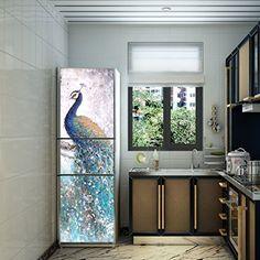 RAIN QUEEN K�hlschrank Geschirrsp�ler Aufkleber Bild Dekor Folie Klebefolie Front Sticker Pfau (C#180cm)