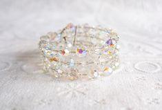 Aurora Borealis Crystal Bead Wire Wrap Around Bracelet, Vintage Costume Jewelry