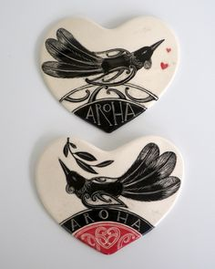 """""""Tui Hearts"""" Hand-made in New Zealand - each heart is unique."""