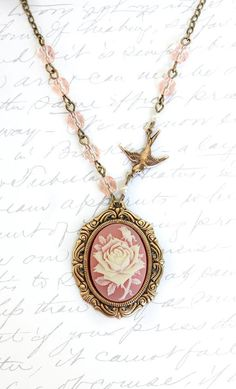 Pink Cameo Necklace Ivory and Pink Rose Pendant.