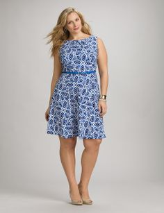 | Plus Size Belted Abstract Dress | dressbarn