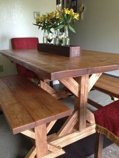 Build a stylish kitchen table with these free farmhouse table plans. They come in a variety of styles and sizes so you can build the perfect one for you. Farmhouse dining room table and Farm table plans. Farmhouse Table With Bench, Farmhouse Kitchen Tables, Diy Dining Table, Farmhouse Furniture, Diy Furniture, Table Bench, White Farmhouse, Antique Furniture, Farmhouse Style