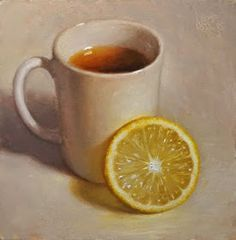 "Daily Paintworks - ""Tea and Lemon"" - Original Fine Art for Sale - © Debra Becks Cooper Food Painting, Types Of Painting, Painting & Drawing, Hyper Realistic Paintings, Still Life Oil Painting, Tea Art, Still Life Art, Color Studies, Kitchen Art"