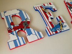 Custom Painted Little Boy's Wall Letters - Airplane / Sky / Transportation on Etsy, $13.00