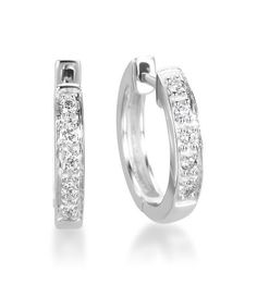 Kc Designs Diamond Hoops 14k White Gold Small Hoop Earrings