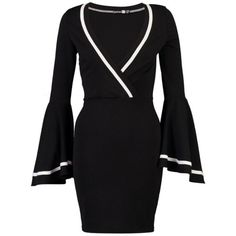 Surplice Plain Bodycon Dress (105 BRL) ❤ liked on Polyvore featuring dresses, bodycon cocktail dresses, elastic dress, long bodycon dress, long cocktail dresses and cross over bodycon dress