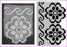 Crochet Lace Edging, Crochet Borders, Crochet Chart, Crochet Stitches, Crochet Curtain Pattern, Crochet Curtains, Baby Knitting Patterns, Crochet Patterns, Beaded Hat Bands