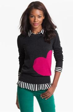 Caslon® Patterned Crewneck Sweater | Nordstrom
