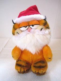 Vintage Garfiled Christmas Santa Hat Plush Holiday Dakin Cat Stuffed Animal 1981