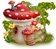 Pebble Painting, Fabric Painting, Stone Painting, Mushroom House, Mushroom Art, Cute Images, Cute Pictures, Animated Smiley Faces, Cute Paintings
