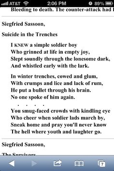 A poem I found when i was searching for war poems for English ...