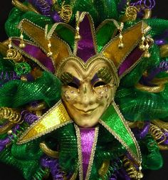 Mardi Gras Jester Mask Wreath, Mardi Gras Decor, Poly Mesh - Item 842