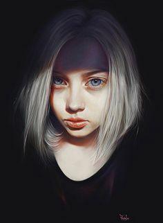 """Schultz"" - Elena Sai {figurative realism art female head dramatic woman face portrait cropped digital painting} elenasai.deviantart.com"