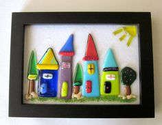 Fused Glass Whimsical little houses Framed by outofourgourds, $50.00