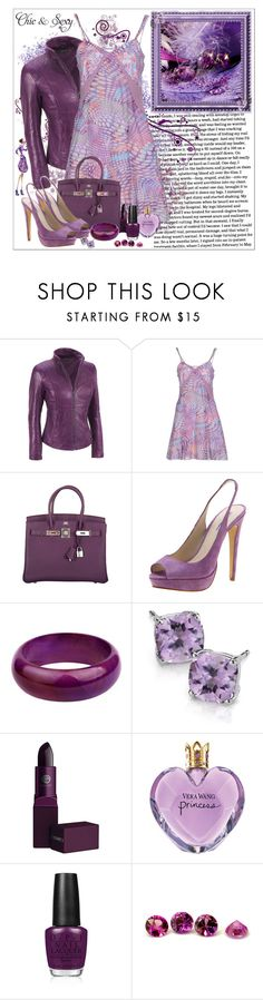 """~018~"" by chantalmiller0 ❤ liked on Polyvore featuring Wilsons Leather, Blu Byblos, Hermès, Windsor Smith, Blue Nile, Lipstick Queen, Vera Wang, OPI, purple and Leather"