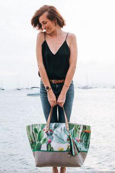 73042cea76 Cénélia - Maxi-cabas en toile imprimée de cactus et enduit en lin - Beach