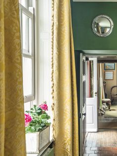 curtains - paneled window | english country home