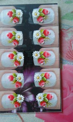Daisy Nails, Flower Nails, Gel Nail Art, Gel Nails, Manicures, Cute Simple Nails, Tole Painting Patterns, Manicure Y Pedicure, One Stroke Painting