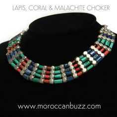 """Elegant multi-stone choker, handcrafted of lapis, coral, malachite and metal. Choker is 13"""" long (fits slender neck)."""